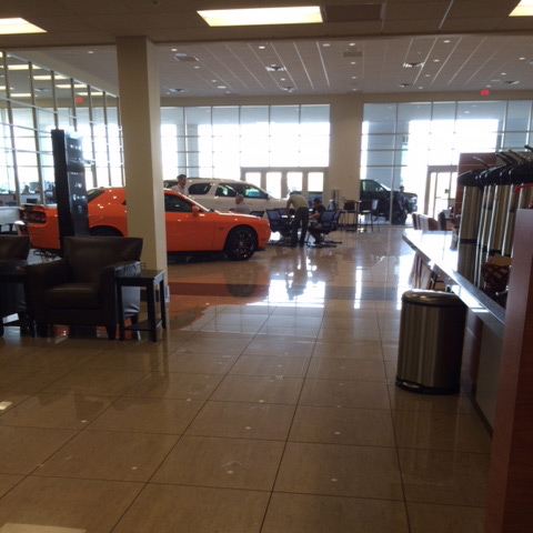 Showroom floor cleaned by MJ Company