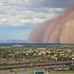 """A typical """"haboob"""" dust storm in the Arizona desert rolling over the city of Phoenix."""