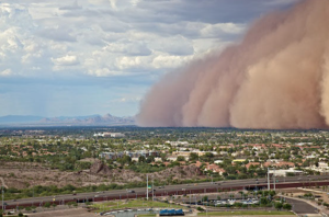 "A typical ""haboob"" dust storm in the Arizona desert rolling over the city of Phoenix."
